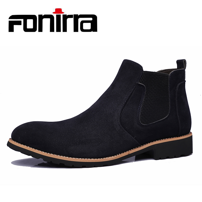 FONIRRA Men Genuine leather High Quality Male Chelsea Boots Winter Retro Shoes Ankle Boots Men Shoes Leather Casual Shoes 958