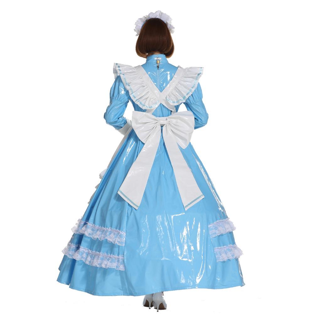 Sissy Girl French Maid Lockable PVC Baby Blue Long Dress Crossdress ...