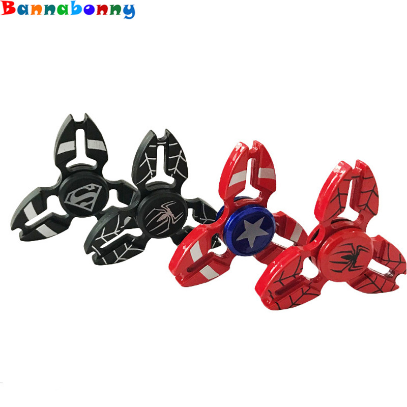 2017 New Fidget Spinner Superman Captain America Shield Iron Man Spiderman Hand Spinner EDC Finger Spinner
