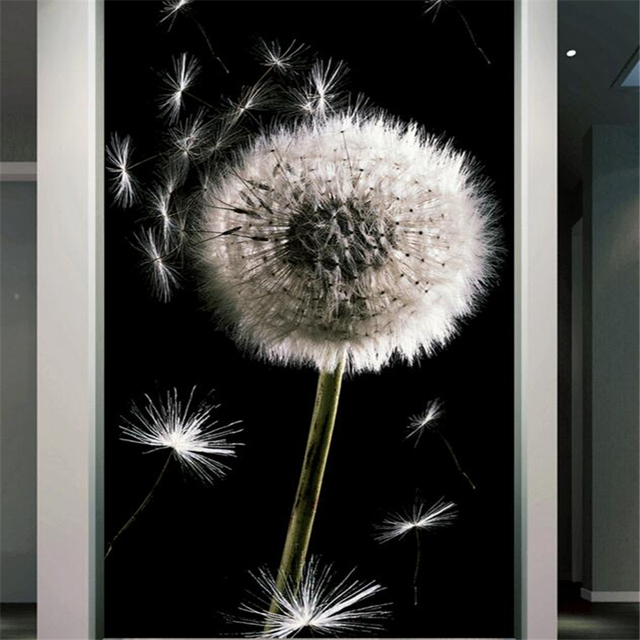 Beibehang HD 3D Black And White Dandelion Background Wall Entrance Photos Living Room Corridor Decorative