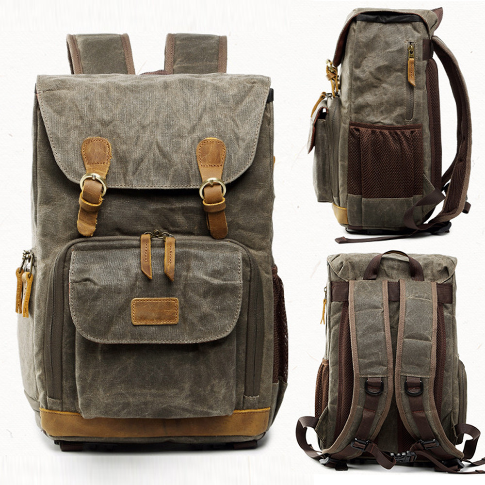 Hot Premium Vintage Photography Backpack Waterproof Photography Canvas Bag 12 20
