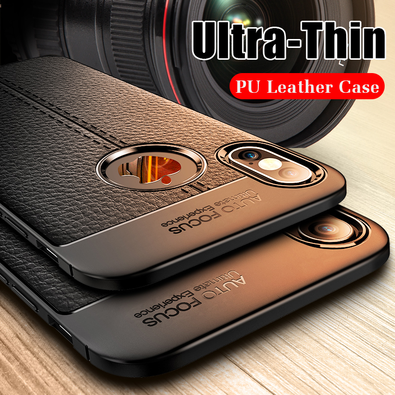 Luxury Leather PU Silicone Soft Case On The For iphone 7 8 6 6s PLus X Full Cover For iphone X Xr Xs Max Shockproof Bumper Case(China)
