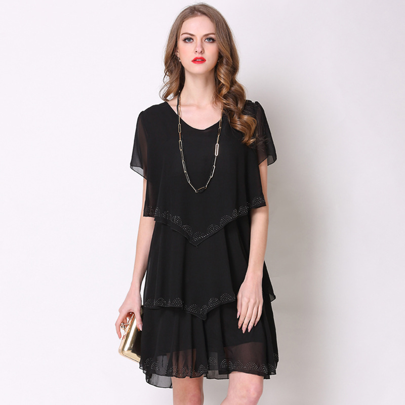 Summer Big Size Dress Women 2019 Fashion Brand V Neck Chiffon Loose Stitching Ladies Elegant Dresses