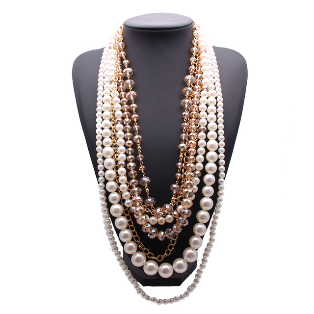 Women Rhinestone Crystal Pearls Necklace Vintage Statement Multi Layers Chained Collar Glory Necklace Glory Jewelry