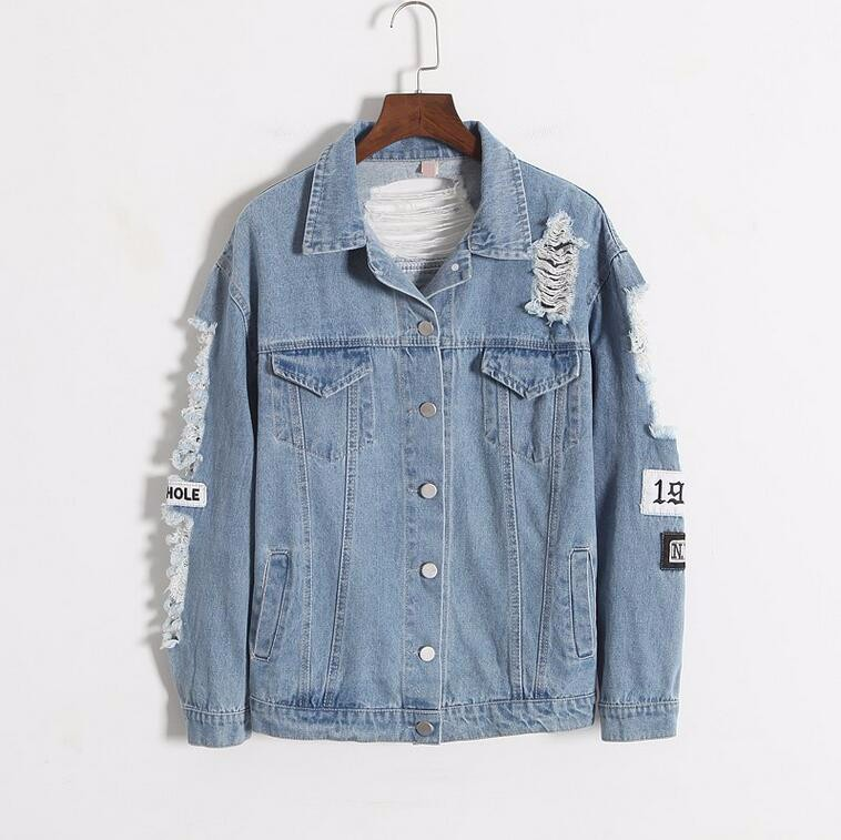 Where is my mind? Korea Kpop retro frayed embroidery letter patch women's denim bomber jacket Ripped Distressed Blue Coat Female 2