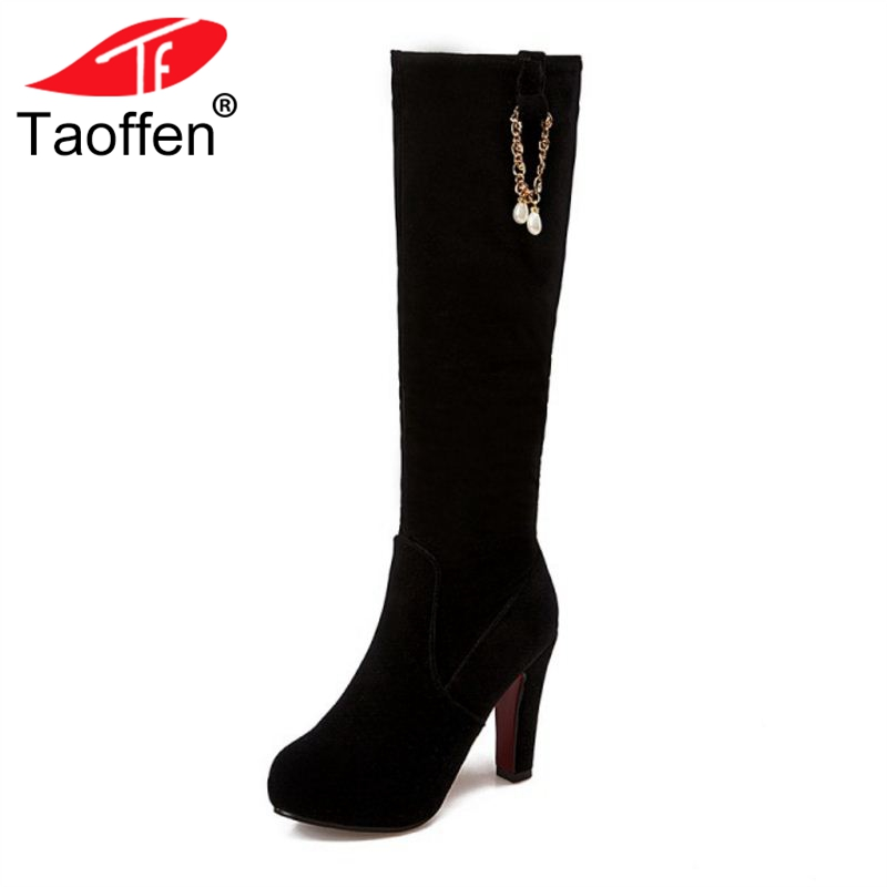 TAOFFEN Size 33-43 Women High Heel Boots Zipper Round Toe Platform Beads Knee Botas Fashion Calssic Shoes Lady Footwear taoffen women high platform shoes patent leather star lady casual fashion wedge footwear heels shoes size 33 48 p16184