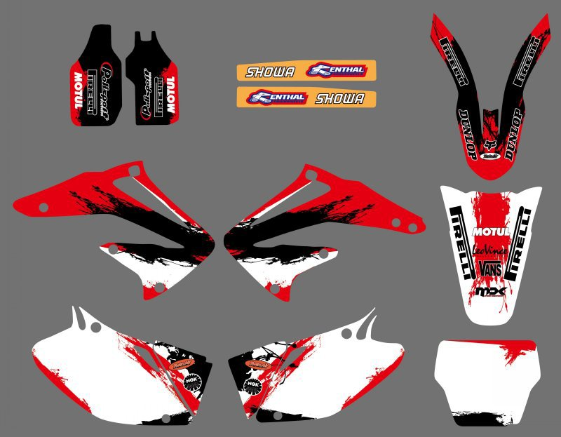 New Style TEAM GRAPHICS & BACKGROUNDS DECALS STICKERS Kits for Honda CRF450R CRF450 2002 2003 2004 CRF 450 450R for honda crf 250r 450r 2004 2006 crf 250x 450x 2004 2015 red motorcycle dirt bike off road cnc pivot brake clutch lever