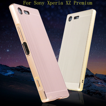 For Sony Xperia XZ Premium Case Brushed Back Cover Hard Case with Plating Metal Frame Case for Sony Xperia XZ Premium F8332 Case