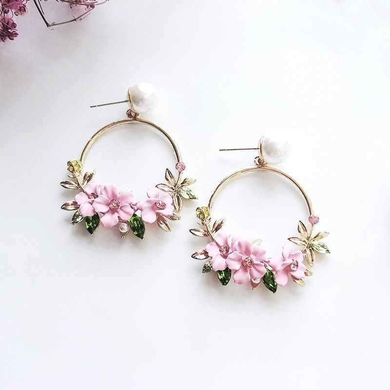 MENGJIQIAO 2018 New Elegant Big Circle Flower Drop Earrings For Women Fashion Simulated Pearl Rhinestone Boucle D'oreille