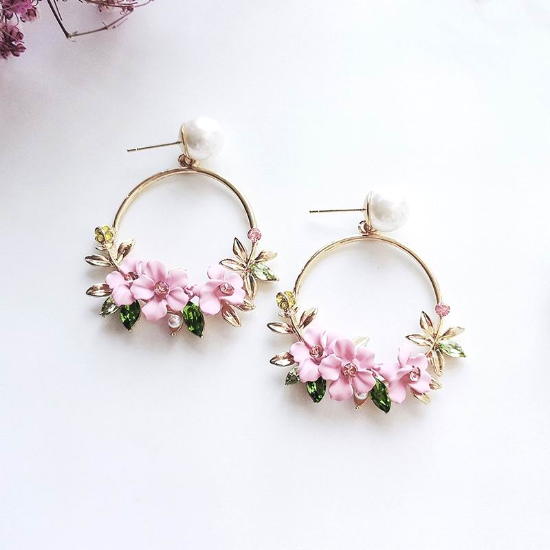 MENGJIQIAO 2018 New Summer Elegant Big Circle Flower Drop Earrings For Women Fashion Simulated Pearl Rhinestone Boucle D'oreille