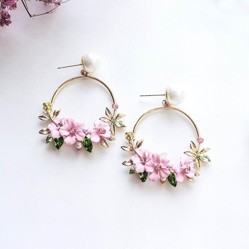 MENGJIQIAO 2018 New Summer Elegant Big Circle Flower Drop Earrings For Women Fashion Simulated Pearl Rhinestone Boucle D'oreille