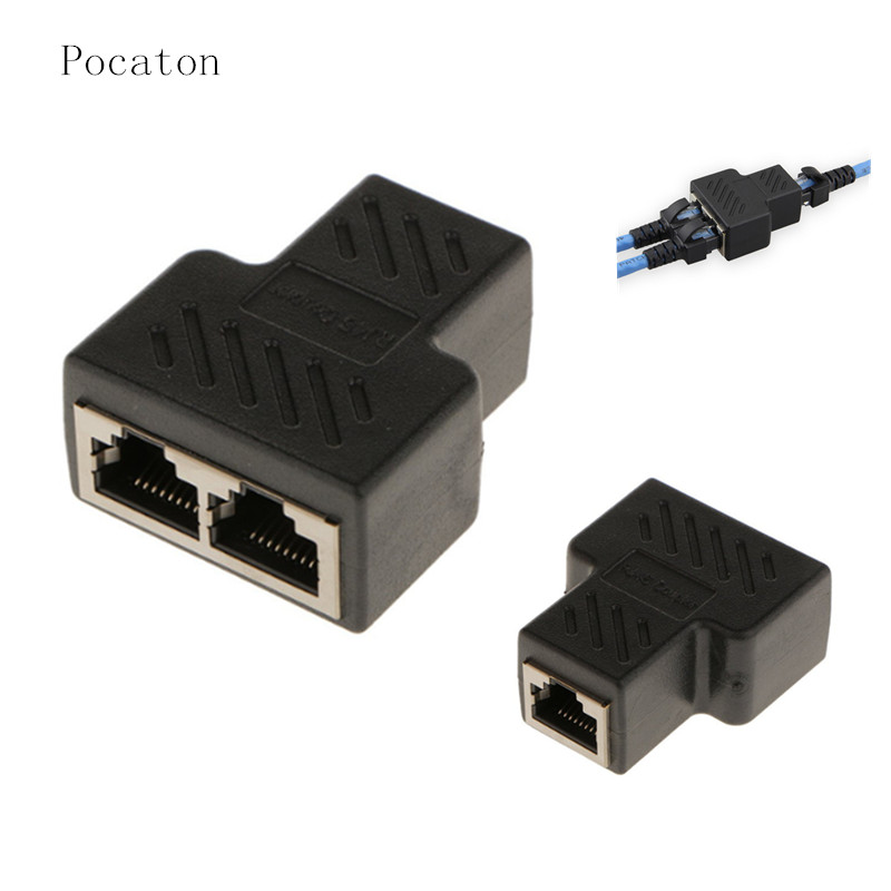 Pocaton  1 To 2 RJ45 Ports Ethernet Network Plug Cable Splitter Extension Adapter Female to Female Connector for routers hubs rj45 connector cat5 cat6 lan ethernet splitter adapter 8p8c network modular plug for pc laptop 10pcs aqjg