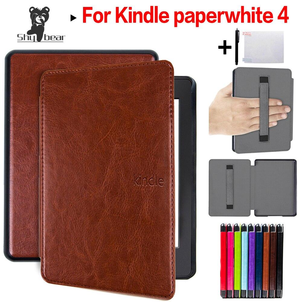 Folio de cuero de la PU caso para Amazon Kindle Paperwhite 4 Ereader para 2018 nuevo 6 pulgadas Kindle Paperwhite cubierta de libro electrónico + película + Stylus