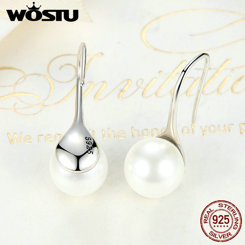 WOSTU New Fashion 100% 925 Sterling Silver Drop Earrings For Women Fine Jewelry Birthday Gift For Girlfriend