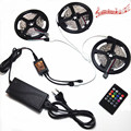 Music Remote 15M 10M 5M SMD 3528 RGB 270Leds LED Flexible Strip Light and music controller and 12V Power Supply EU US 54leds/m