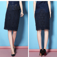 Nordic Winds Summer Denim Skirts Cotton Knee Length Retro Hollow Out Denim Floral Pattern Skirt Ladies