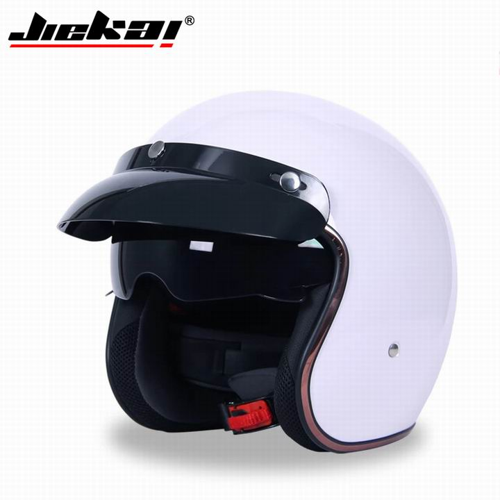 JIEKAI JK 510 Universal Motorcycle Helmet Harley Retro Open Face Cold Protection Safe Riding Scooter Headpiece with Visor B