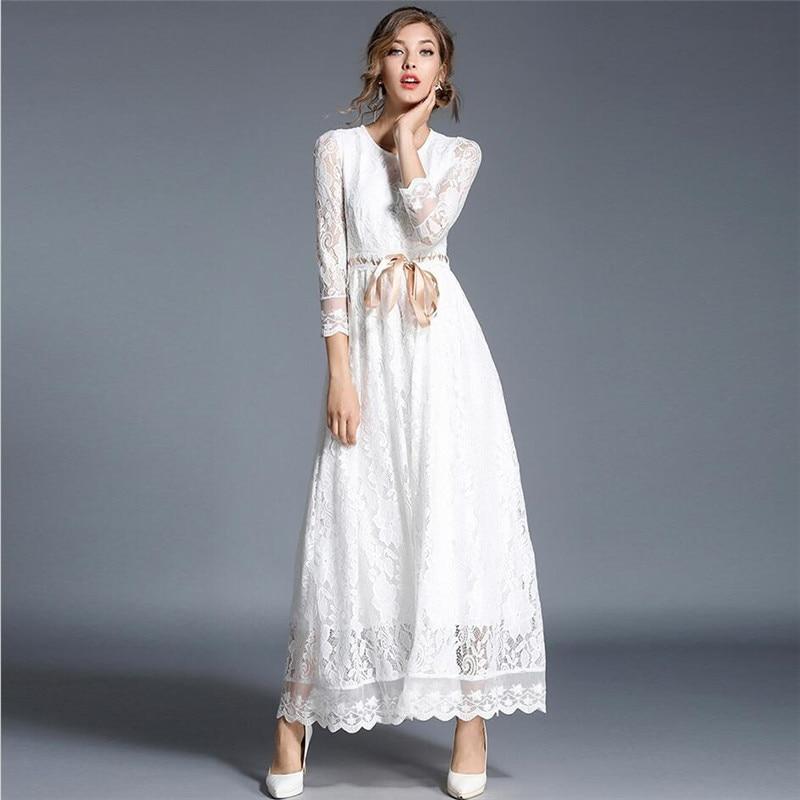 2019 Tobillo Primavera Blanco Slim Floral Encaje Otoño Fajas Las Nuevo De Vestido Mujeres Maxi Longitud Elegante Con Eg1nqfw