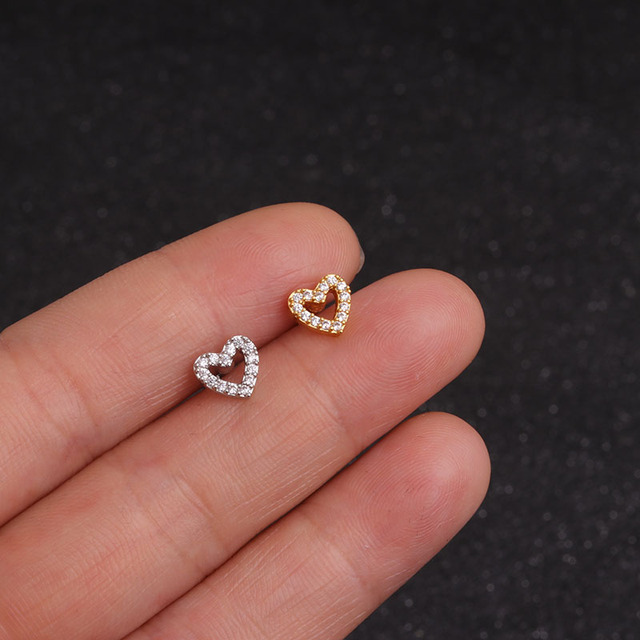 Feelgood Gold And Silver Color Cz Cartilage Moon Star Heart Cross Flower Crown Helix Piercing Tragus Stud Conch Earring 4