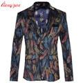 Men Business Blazer Jacket Brand Slim Fit Jacket Suit Male Plus Size 5XL 6XL Cotton Wedding Leaf Pattern Casual Blazer F2347