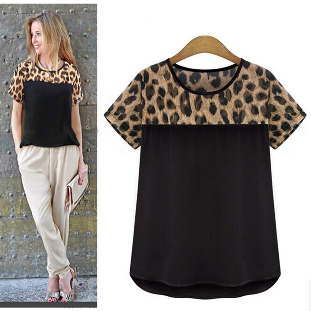 MwWiiWwM 2018 Summer Style Women Clothing Leopard Chiffon   Blouse   Blusas Femininas   Shirt   Camisas Roupas Femininas Women Tops