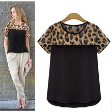 MwWiiWwM 2018 Summer Style Women Clothing Leopard Chiffon Blouse