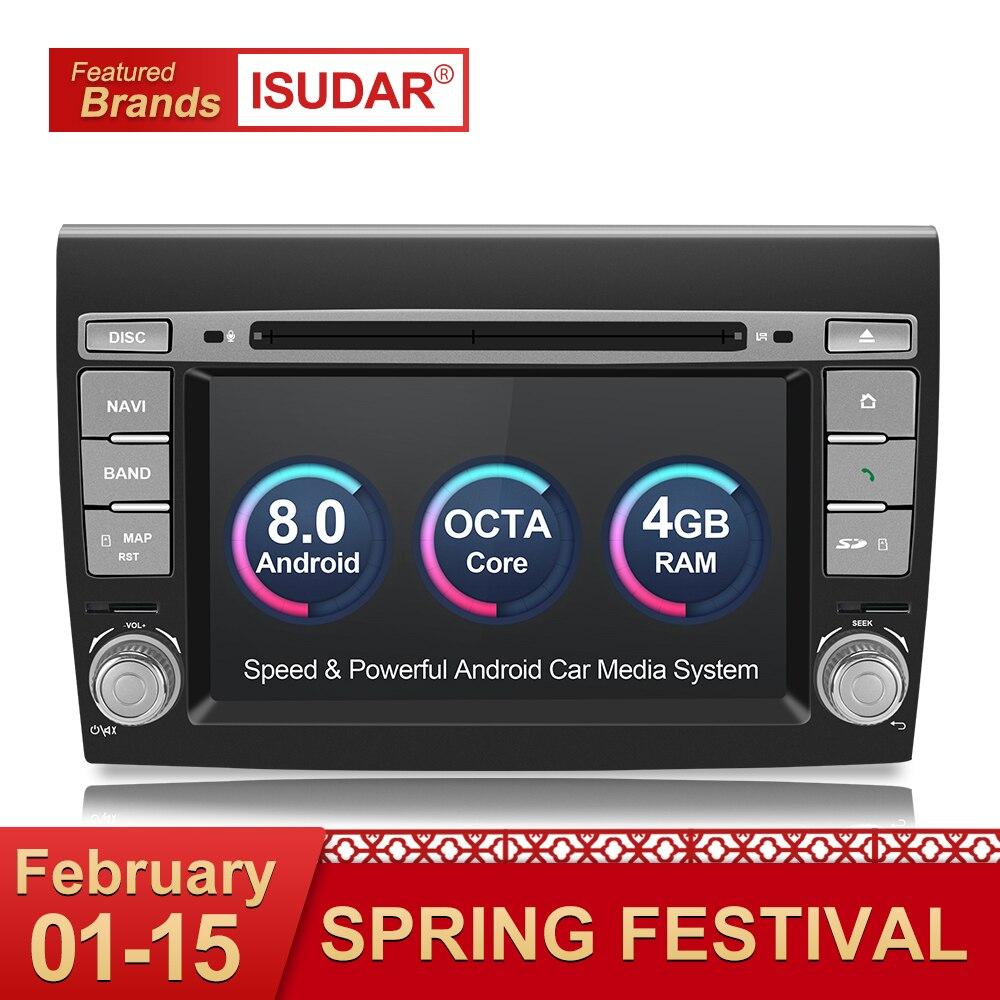 Isudar Автомагнитола 2 Din с 7 Дюймовым Экраном на Android 8.0 для Fiat/Bravo 2007-2012 8 ядер 4GB RAM FM/AM Радио Wifi USB