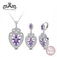 Rinntin Sterling Silver S925 Women Jewelry Set Hoop Earrings and Necklace Micro Paved Purple AAA Cubic Zircon for Dress TSS03