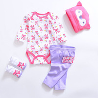Autumn Spring Newborn Boy Girl Clothes Long Sleeve Cotton Baby Costume Rompers Pant Cartoon Hat Sock