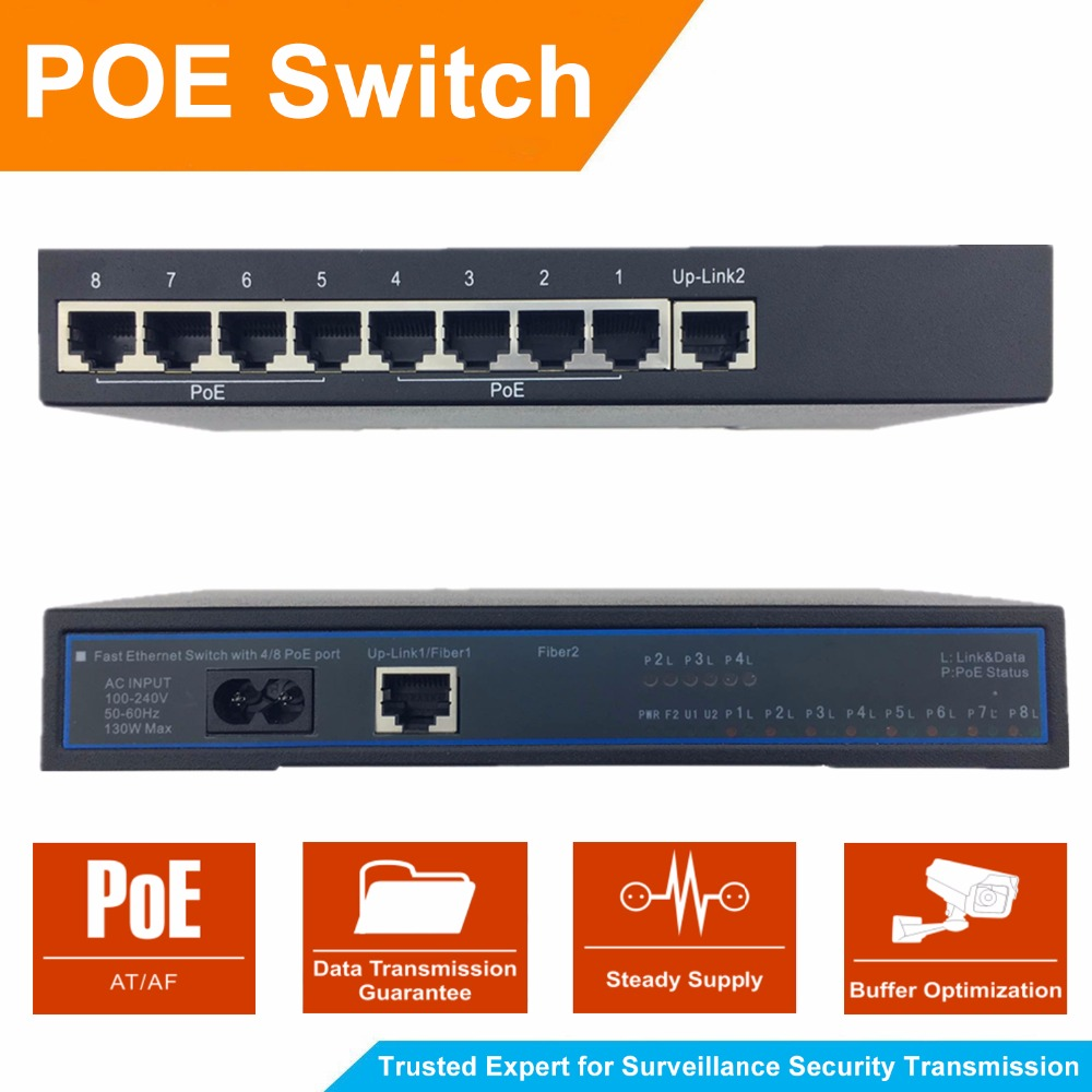 8 Port 100Mbps IEEE802.3af POE Switch/Injector Power over Ethernet Network Switch for IP Camera IP Phone AP devices 2 Up-link