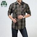 Afs JEEP outono 100% de algodão para homens de vermelho / verde Original homens marca de moda de lazer camisa, Geral homem