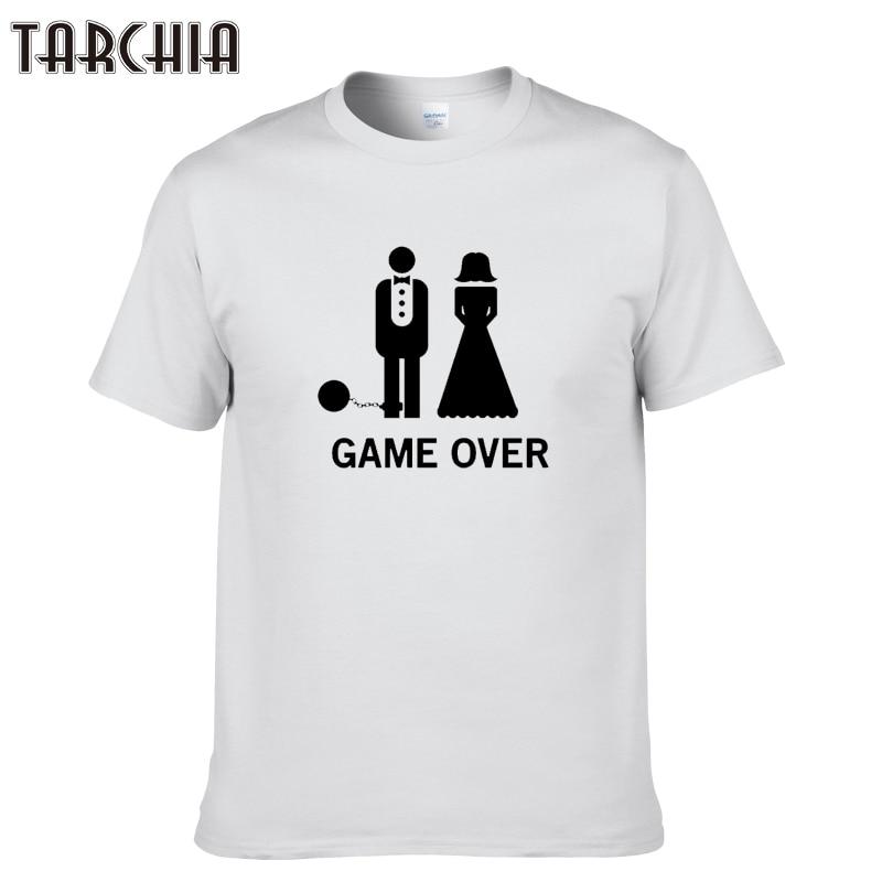 TARCHIA 2019 new fashion funny summer t-shirt game over cotton tops tees men short sleeve boy casual homme tshirt t shirt plus