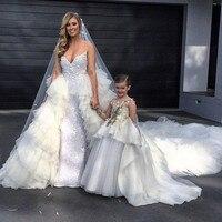 Довольно Аппликации вечернее платье с блестками органзы длинный шлейф платья для девочек в цветочек Свадебная вечеринка Пышное индивидуал