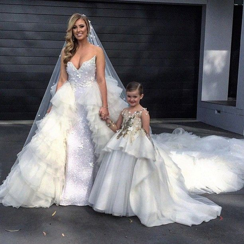 Pretty Appliques Sequins Ball Gown Organza Long Train   Flower     Girls     Dresses   for Wedding Party Pageant Custom Made