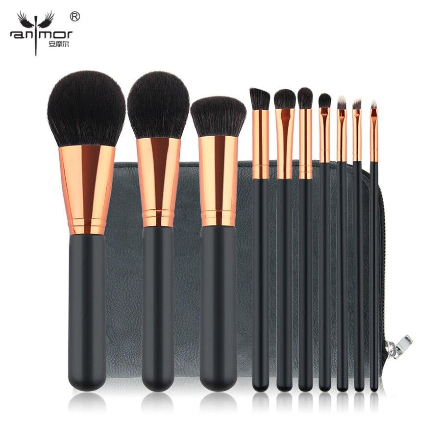 Anmor 10 PCS Professional Makeup Brushes Set Rose Gold Black Make Up Tools Kit High Quality