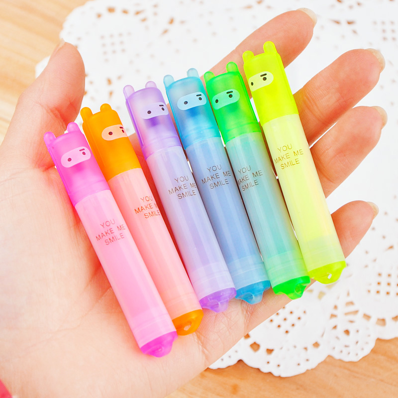 6PCS/Set Rabbit Mini Highlighter Pen Marker Pens Kawaii Stationery Material Escolar Papelaria Writing School Supplies
