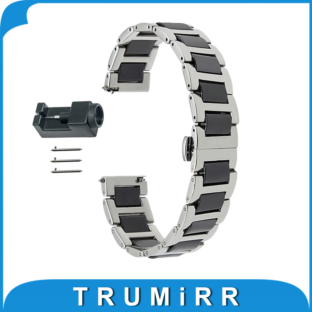 18mm 20mm 22mm Ceramic + Stainless Steel Watch Band for Epos Butterfly Buckle Strap Quick Release Wrist Belt Bracelet + Tool