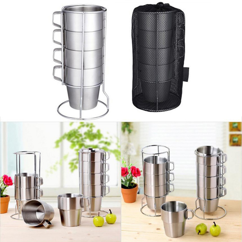 6pcs/set Stainless Steel Mug Set With Cup Holder And Storage Bag Double Wall Vacuum Camping Cup For Beer Juice Coffee Water