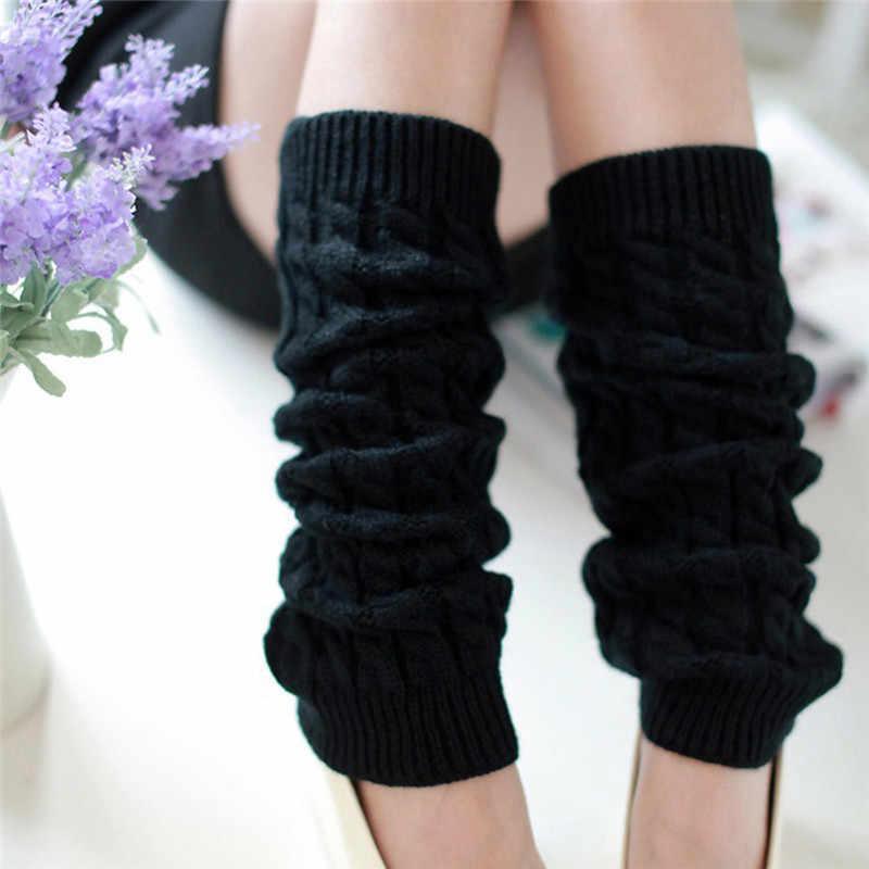 El yapımı Kadınlar Kış Isıtıcı Akrilik Örme bot paçaları Çorap Diz Bacak Çorap 5 Renkler