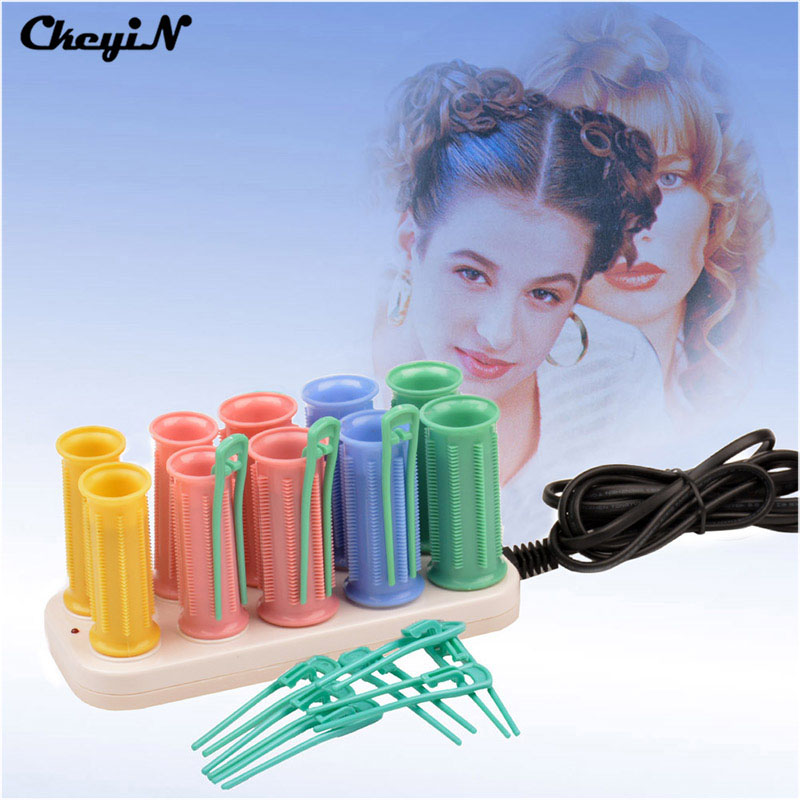 10 Pcs Rollers 25/30mm Electric Heating Pear Hair Ceramic Hot Harmless Hair Curlers Set Hair Sticks Tube Dry&Wet Curly