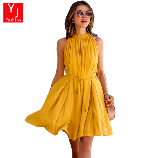 Fashion Women Dress New Arrival Casual Loose Women Yellow Sleeveless  Pleated Summer Dress Ladies Sexy Evening dd05e06563d4