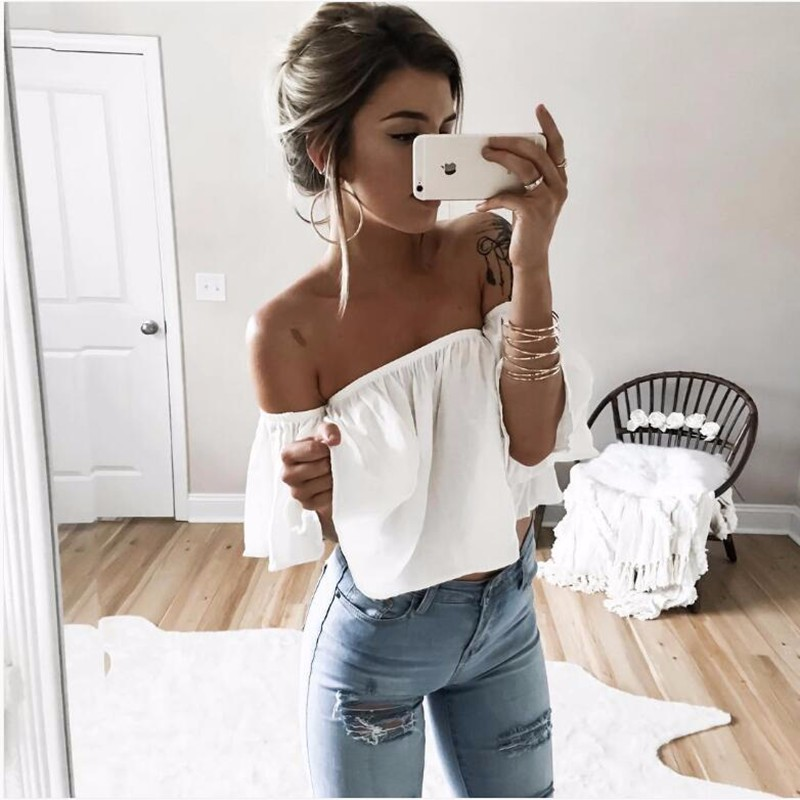 HTB1ydmjNpXXXXXQaXXXq6xXFXXXT - T shirt women butterfly sleeve off the shoulder crop top 2017