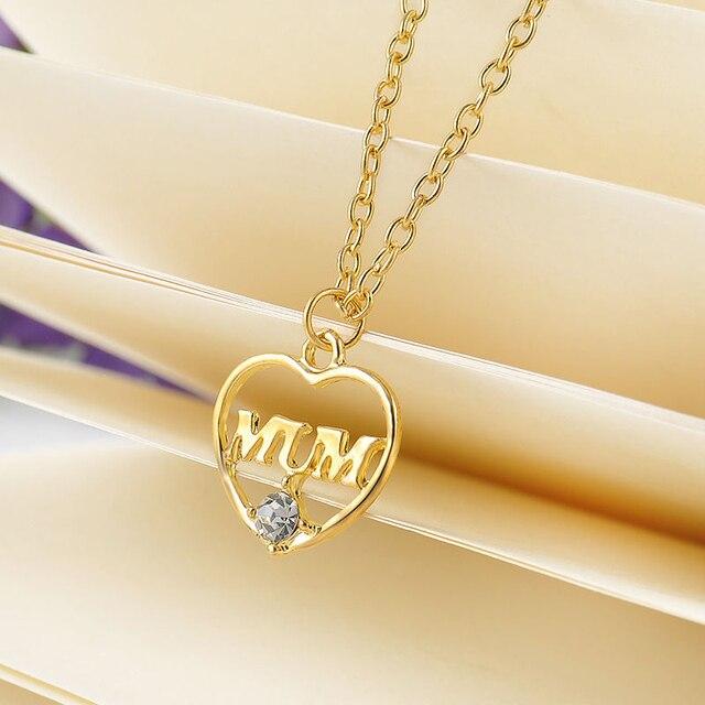1a6e6b9588d3 Minimalista simple moda hueco en forma de corazón mamá colgante collar  joyería oro plata madre cumpleaños
