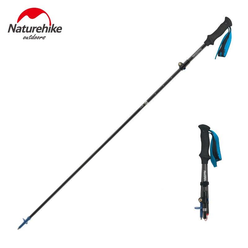 Naturehike Portable Cane Telescopic Alpenstocks 5 Joint Ultralight Camping Hiking Stick Carbon Fiber Trekking Pole For