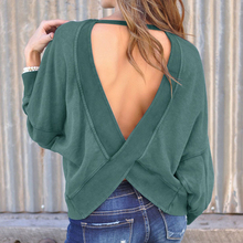 2019 Autumn Sexy Dress Solid Loose Backless Pullover Sweater  Long Sleeve Knitted Women Sweater цены