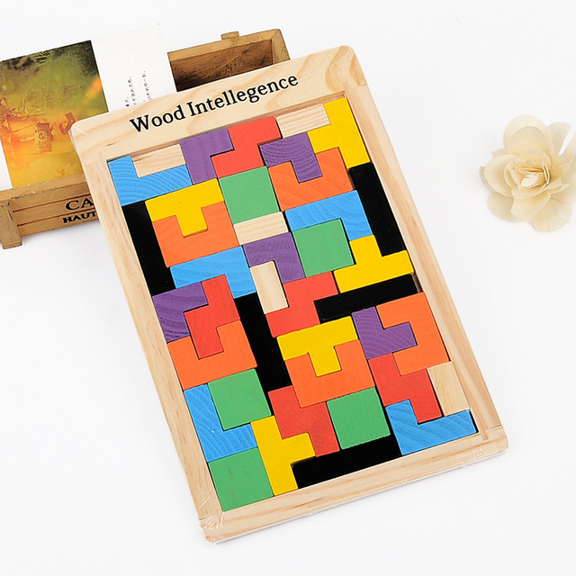 Wooden Brick Game Tetris Board Puzzle Toy For Kids Mini Classical Unique Wooden Bricks Game