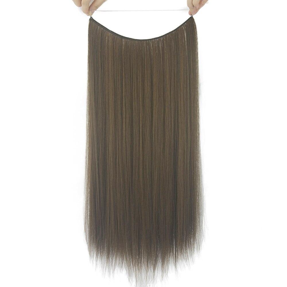 Soowee 24 длинные Синтетические волосы теплостойкость Волокно рыба линия Halo Невидимый прямой Коричневый и серый цвет волос шиньоны