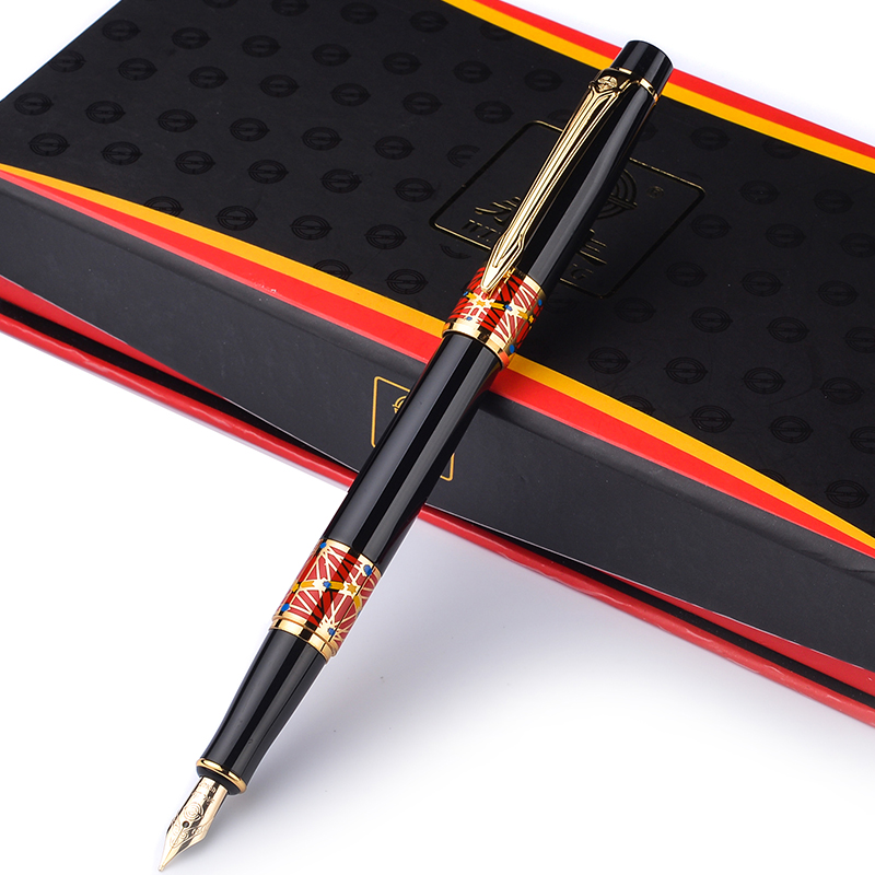купить Exquisite Brand New Golden Clip Black Fountain Pen Wingsung 551 Full Metal Iraurita Student Business Gift Pens with A Gift Box недорого