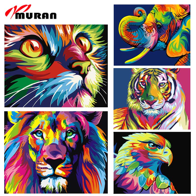 MURAN Abstract Framed Oil Paint DIY Painting By Numbers Coloring By Numbers Colorful Animals Home Decoration 40X50cm Linen