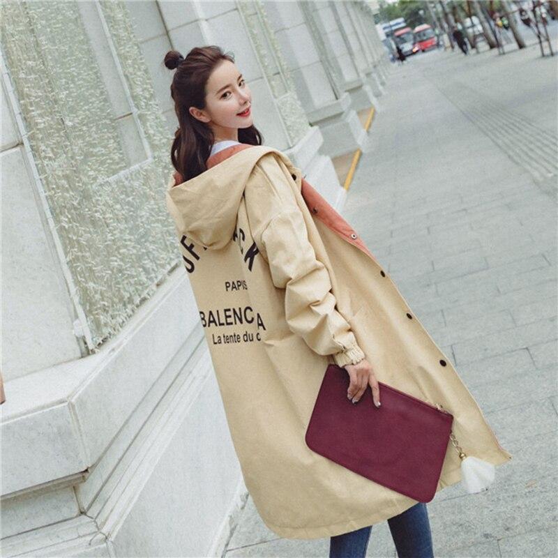 Trench   Coats For Women Spring Outwear Female Large Size Coat Hooded Long Windbreaker Loose Feminino Overcoat Chaqueta